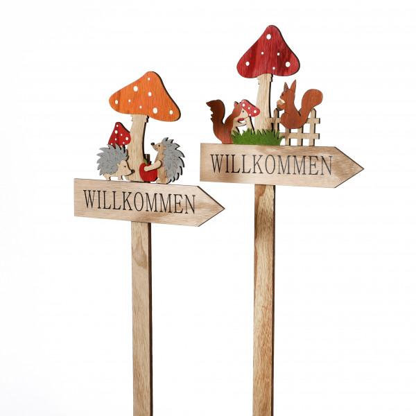 Herbststecker Pilz-Willkommen Holz, ca 25,5x69x1,5 cm, 2 Modelle
