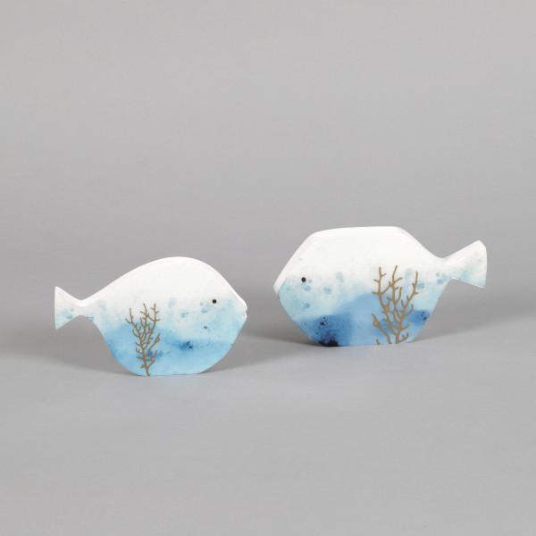 Deko Fisch Marina Holz, 14x9x1,8 cm blau
