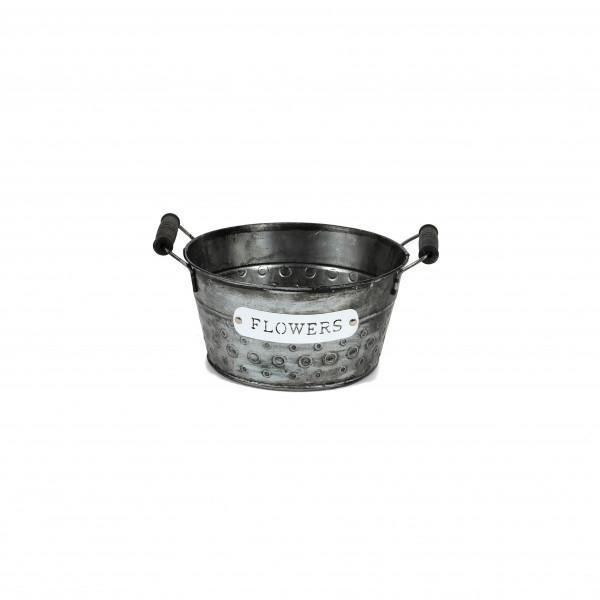 Zink-Schale Bubble , mit Griffen, 18x9x14cm, schwarz, Metall