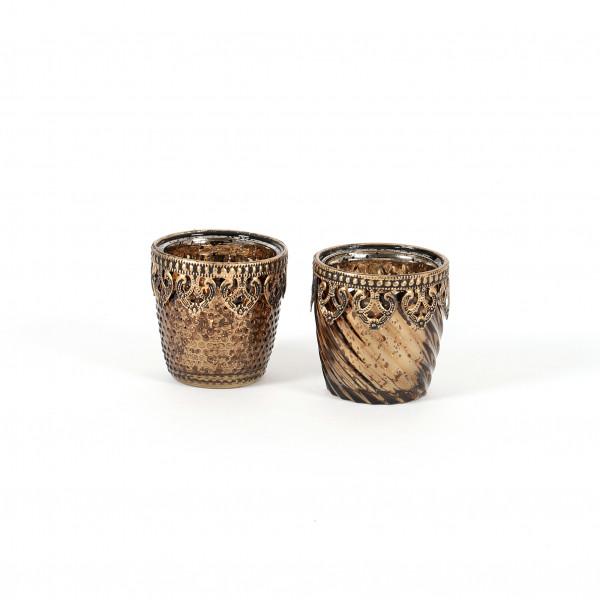Teelichtglas Elis Glas, konisch, 2 Mod mit Metallbeschlag,9x14 cm, brokat