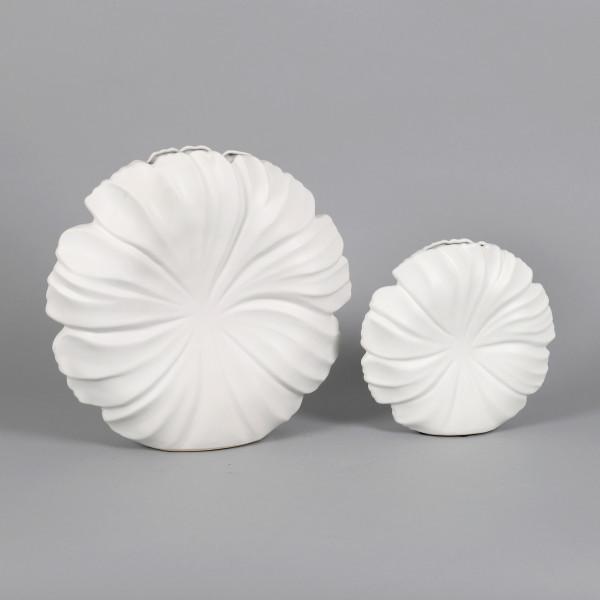 Keramik Deko-Vase Ninfea rund weiß matt