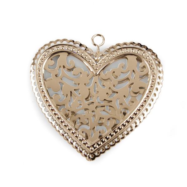 Herz mit Reliefstanzung 8x8x 27 cm 16 Stück champagner