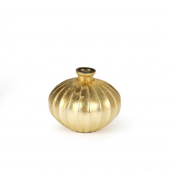 Vase Almond Glas 15x15x13 cm, gold antik