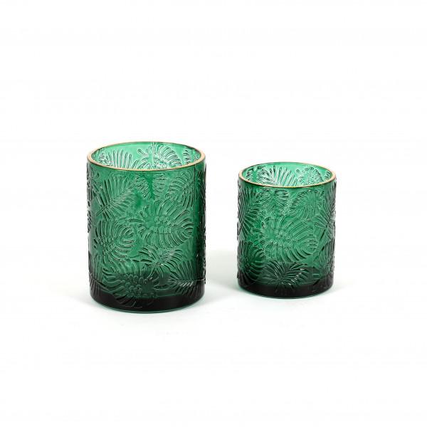 Windlicht Monstera Glas,grün m.Goldrand