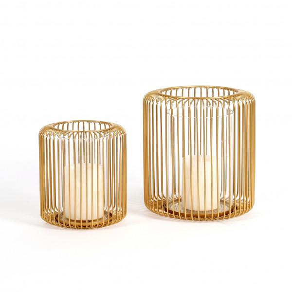 Windlicht Gabbia Metall mit Glas gold