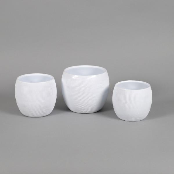 Keramik Kugeltopf Plisseedekor