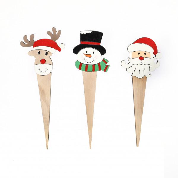Stecker Holz, Weihnachtssort. Santa, Schneemann, Hirsch, 17.5x5.5cm
