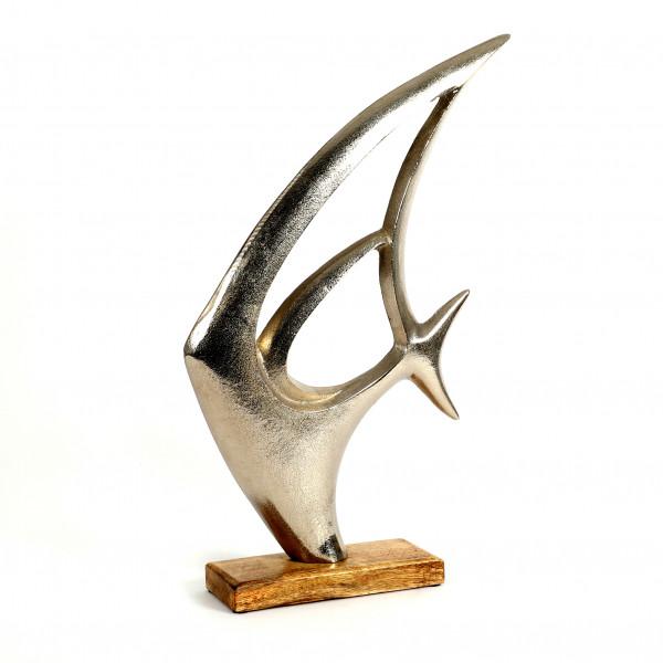 Standdeko Fisch Aluminium-Holz, 50x29x8 cm