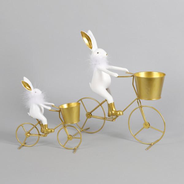 Metall-Fahrrad gold m.Polyhase weiß m.Fellkragen