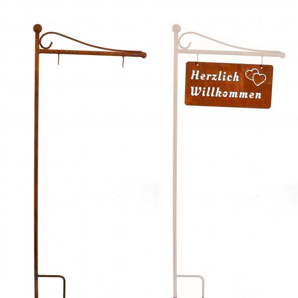 Hängetafel Herzlich Willkommen 15x30 cm rost