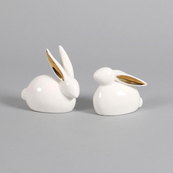 Keramik Hase Wendy sitzend, 2Mod.sort. weiß, Ohren gold, 10x5xh.8/11cm