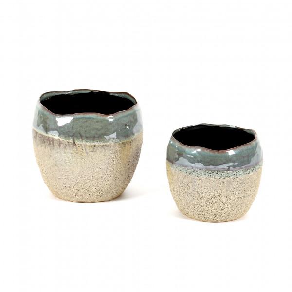 Keramik-Topf, Pisa, teilglasiert blau-grau