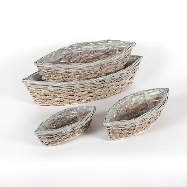 Pflanzkorb schiffchen, Rattan/Corn-Leaf- geflecht, Set/4, natur