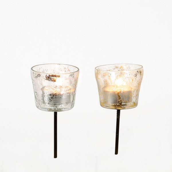 Glas-Teelicht auf Metallsticke r, klar