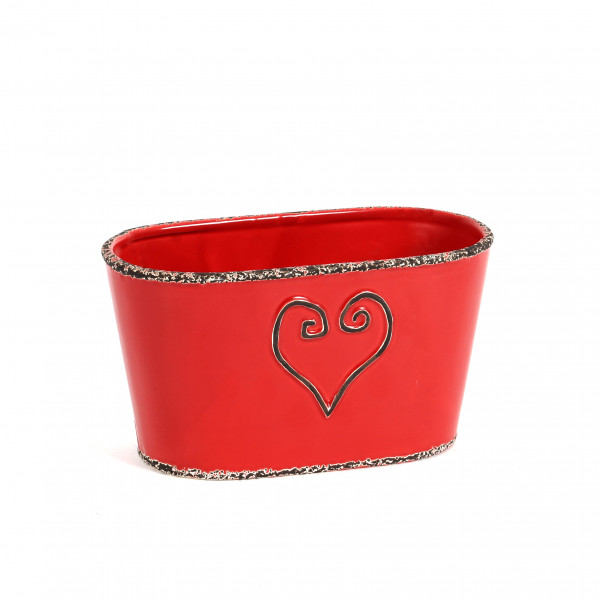 Keramik Jardiniere Lea mit Herz-Design rot glasiert, Rand antik