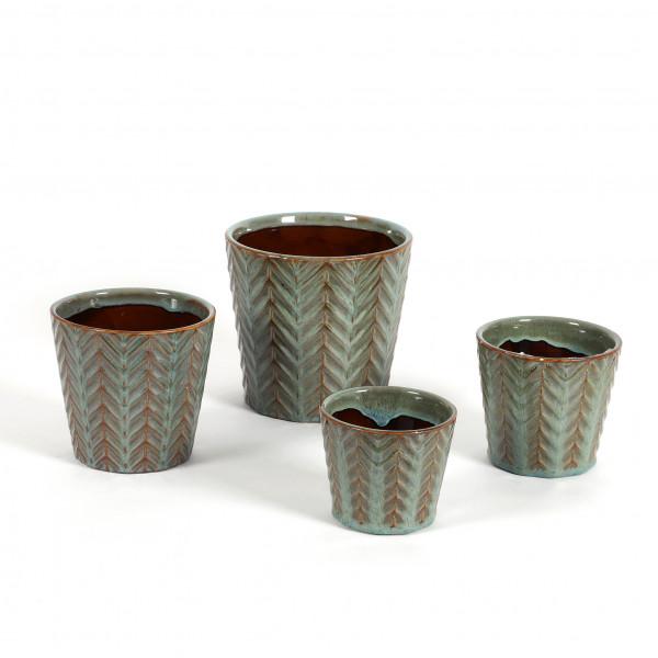 Keramik Topf Morten konisch m.Dekor Reaktionsglasur grün
