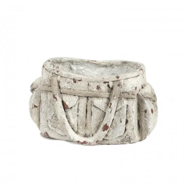 Magnesia Pflanz-Tasche, 37x26xh20 cm weiß-antik