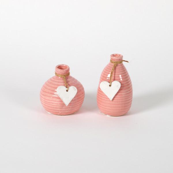 Keramik-Vase, 2 Mod sortiert, mit weißem Herz-Hänger, pink glasiert, Höhe 10/13c