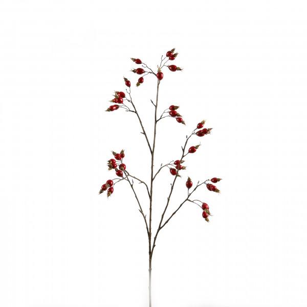Hagebuttenzweig, 109 cm mit Früchten, rot