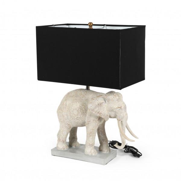 Deko-Lampe Elephant creme/schwarz Lampenschirm in schwarz, 38x38xh.56cm