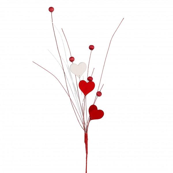Herz-Stecker Holz, mit Deko-Perlen rot, Länge 35cm