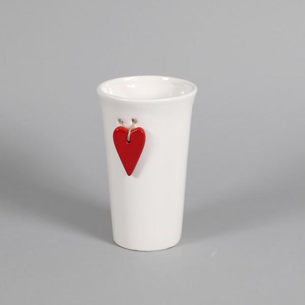 Keramik Vase Valentina weiß mit rotem Herzhänger, 12xh19 cm