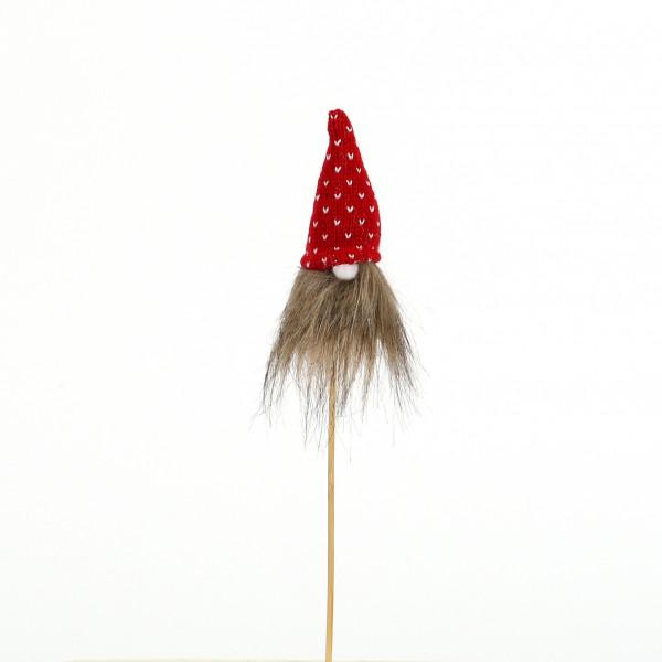 Blumenstecker Wichtel Kunststoff 5x8x25 cm, rot