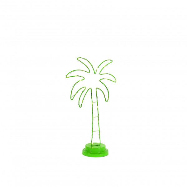 Palme mit Led, Metall, hellgrün 19,5x9,5x35,5 cm