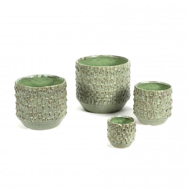 Keramik Struktur-Topf, grün-antik matt glasiert