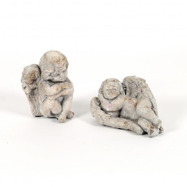 Allerheiligen Engel liegend, 2 Mod.sort. Beton, 16x10x9/13x10x9 cm
