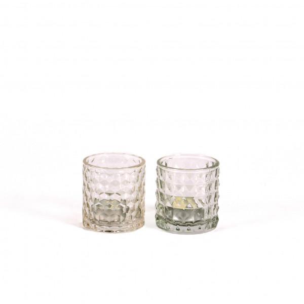 Teelicht Ina mit Optik 7,5x7,5 cm klar 2fach sortiert