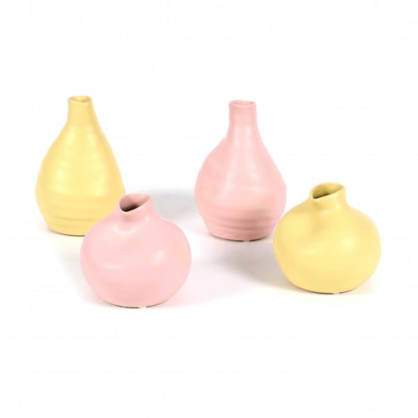 Keramik Vase, bauchig, 2 Modelle 9/14cm matt gelb+pink sortiert
