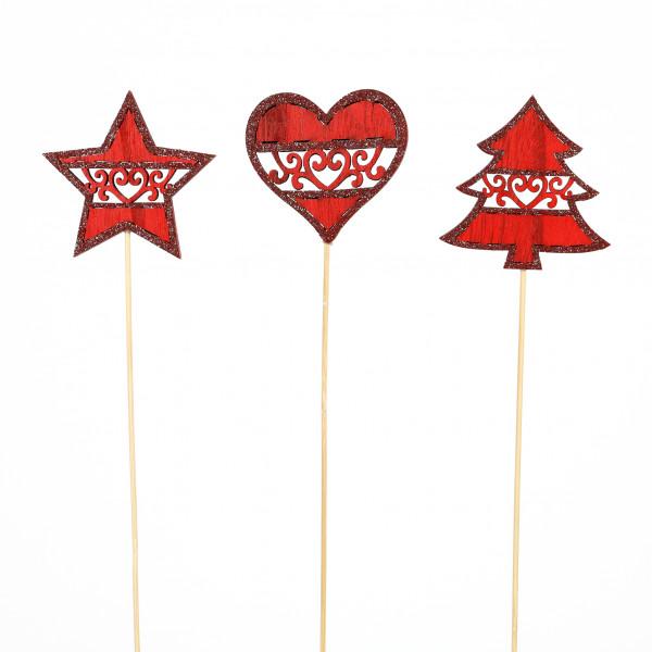 Stecker Holz, 3Mod. Stern, Baum, Herz Rot mit Ornament 7x22cm