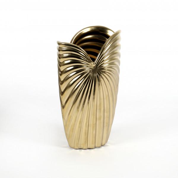 Keramik Rillen-Vase Lenja 15x10xh25cm champagner-gold glasiert