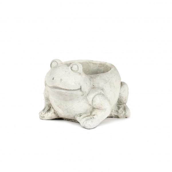 Zement Pflanz-Frosch Hugo 18x16xh12cm, weiß-antik