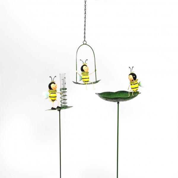Biene Blattschaukel z.hängen,farbig, Metall, 20x15 cm