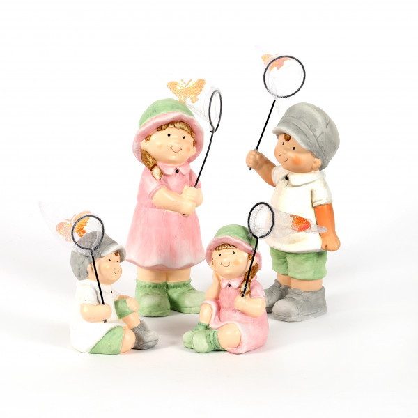 Keramik Kinder, m.Schmetterlingsnetz