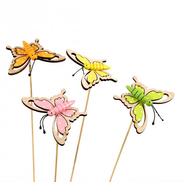 Blumenstecker Schmetterling Holz, 4fb 10x25 cm, gelb,orange,grün,pink