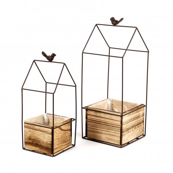 Metall-Haus mit Vögelchen, quadratisch mit Pflanzwürfel Holz