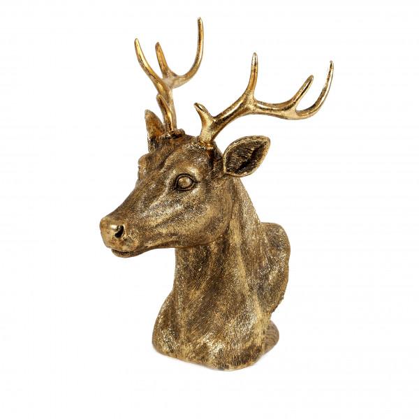 Poly-Hirsch-Kopf, stehend 16x13xh21cm, gold glitter