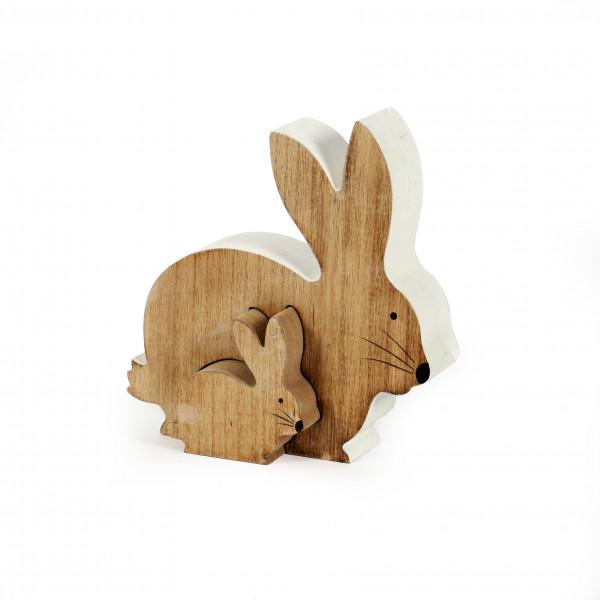 Hasenpaar sitzend, natur 18x17 cm