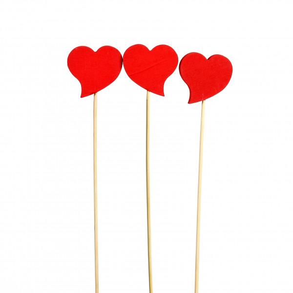 Holz-Stecker Herz, geschwungen rot, 5x25cm