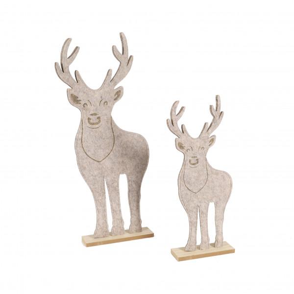 Filz-Hirsch auf Holzfuß, grau, stehend
