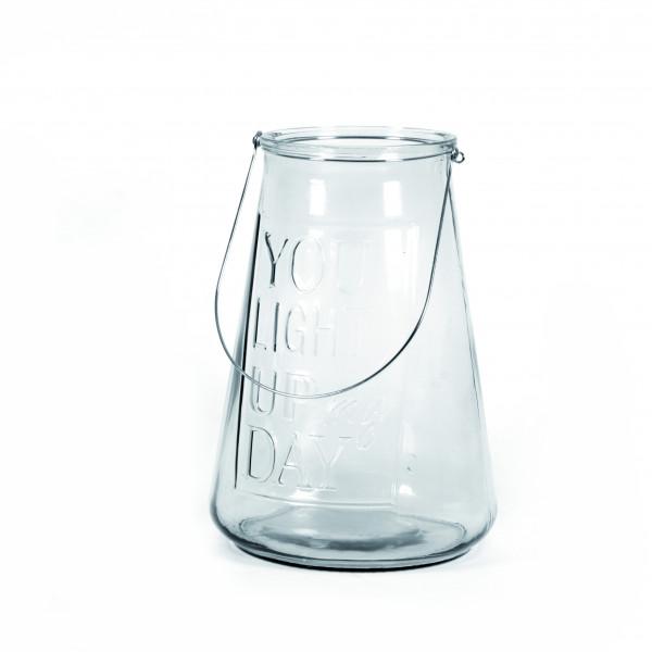 Windlichtglas Shine 26x26x37 cm klar mit Schrift
