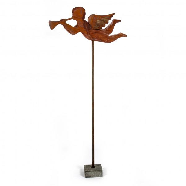 Fliegender Engel auf Betonfuß, Metall,rost 160 cm