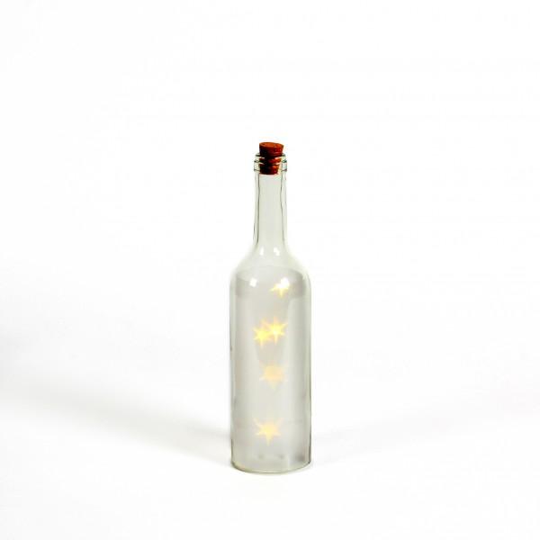 Glasflasche mit 5 LED Stars D7 cm x H30cm weiß, Timer