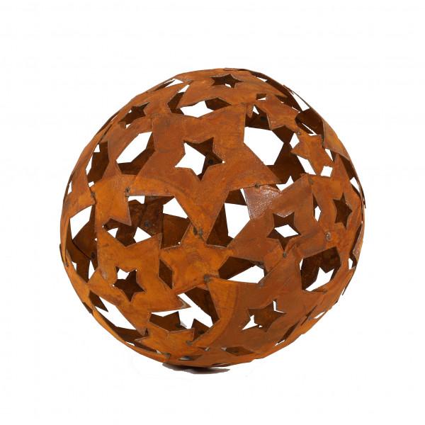Sternenkugel mit Öffnung für Flammschale 37 cm Öffnung 15,5 cm rost