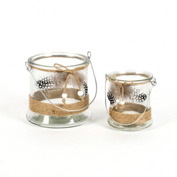 Windlicht Feder Glas klar mit Jute