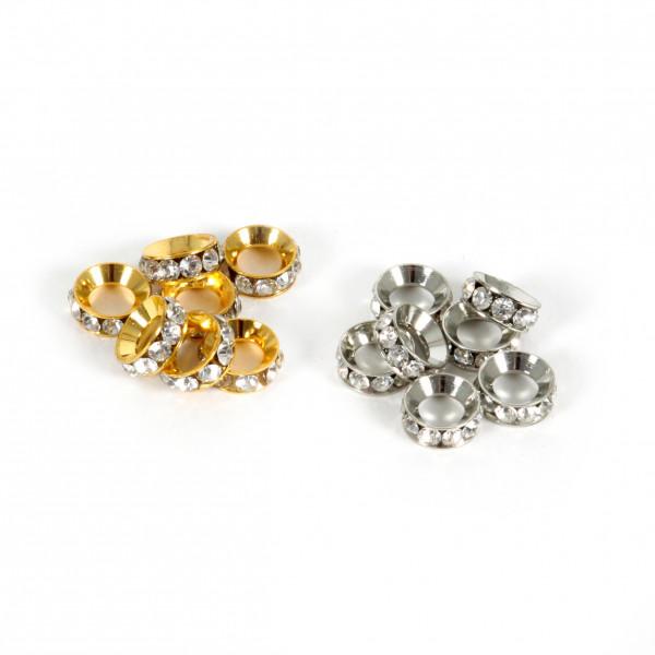 Beads Ringperle Diamanten 40St D 1cm H 0,4cm
