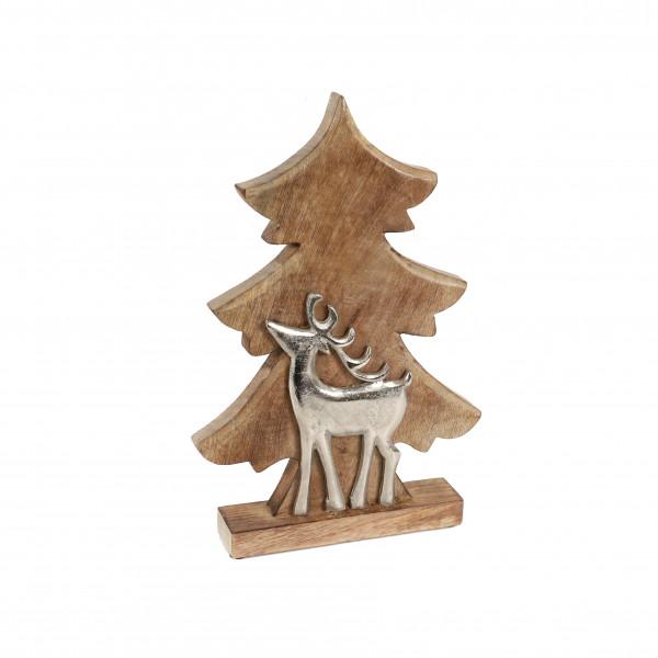 Baum, Holz, mit Metallhirsch, natur 38x25x5 cm